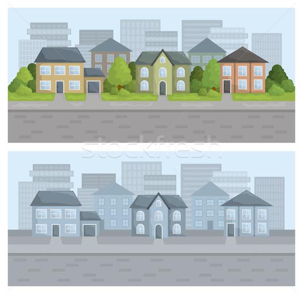 街 実例 住宅の 地区 色 空 ストックフォト © Bisams