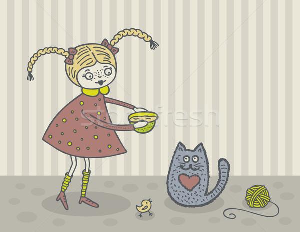 少女 猫 かわいい キティ 手描き ストックフォト © Bisams