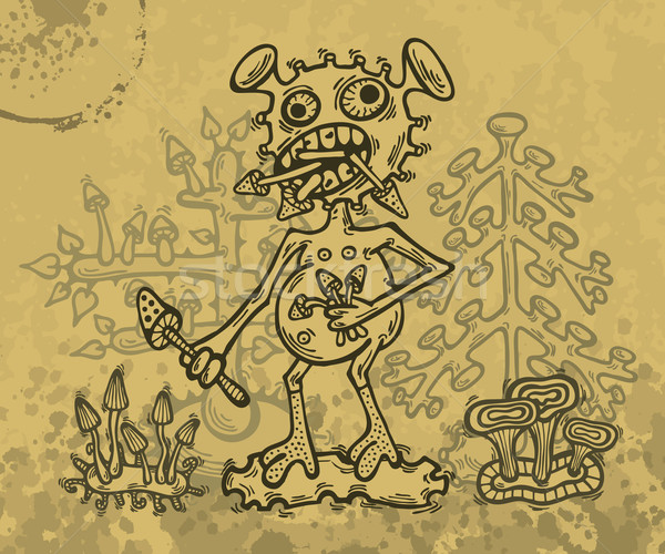 モンスター 実例 手描き クレイジー 魔法 キノコ ストックフォト © Bisams