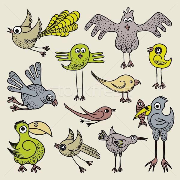 いたずら書き 鳥 実例 手描き 面白い セット ストックフォト © Bisams