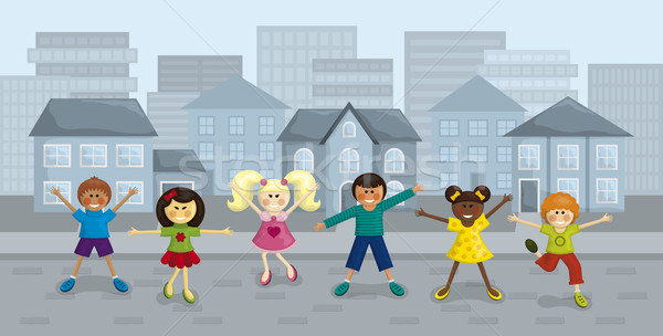 幸せ 市 子供 実例 都市 ストックフォト © Bisams