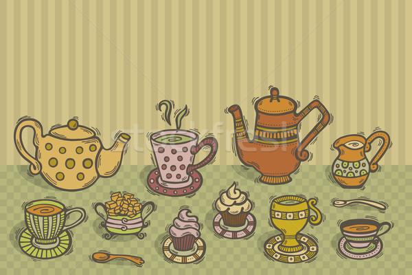 茶 時間 実例 手描き セット 表 ストックフォト © Bisams