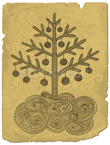 いたずら書き クリスマス ツリー 手描き レトロスタイル 古い紙 ストックフォト © Bisams
