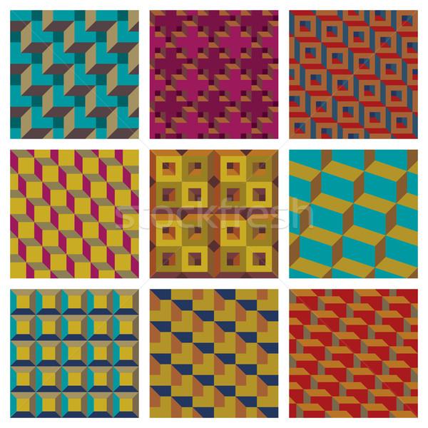 幾何学的な 9 異なる 芸術 パターン ストックフォト © Bisams
