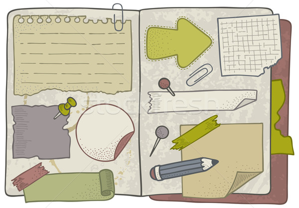 いたずら書き ノート 手描き オープン ノートブック ストックフォト © Bisams