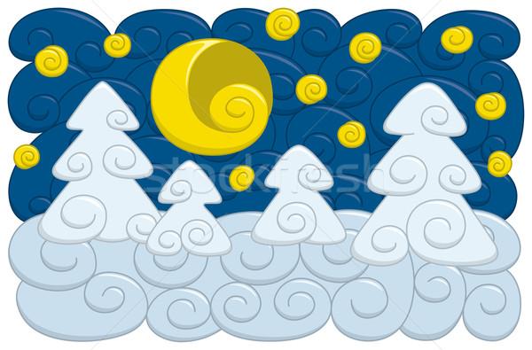 冬 夜景 漫画 スタイル 月 星 ストックフォト © Bisams