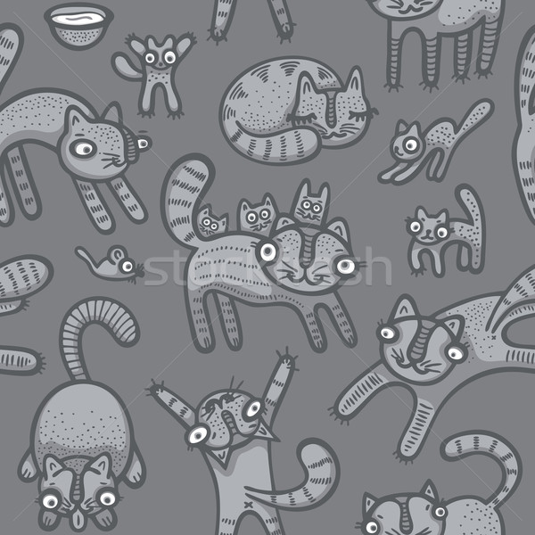 Doodle cats seamless background Stock photo © Bisams