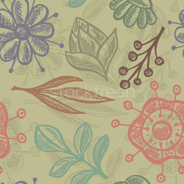いたずら書き フローラル シームレス 手描き 葉 背景 ストックフォト © Bisams