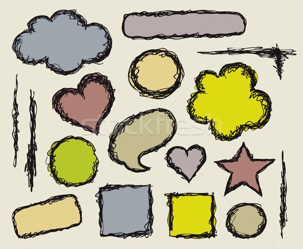 ストックフォト: フレーム · セット · 手描き · 手 · 抽象的な