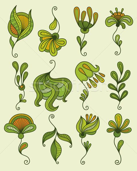 フローラル 要素 セット 定型化された 花 抽象的な ストックフォト © Bisams