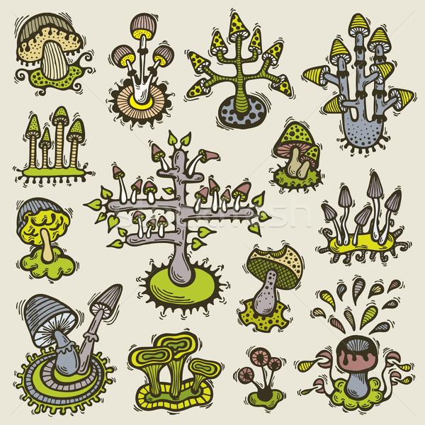 いたずら書き キノコ 実例 手描き 奇妙な セット ストックフォト © Bisams