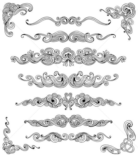 Doodle scroll ingesteld decoratief communie Stockfoto © Bisams