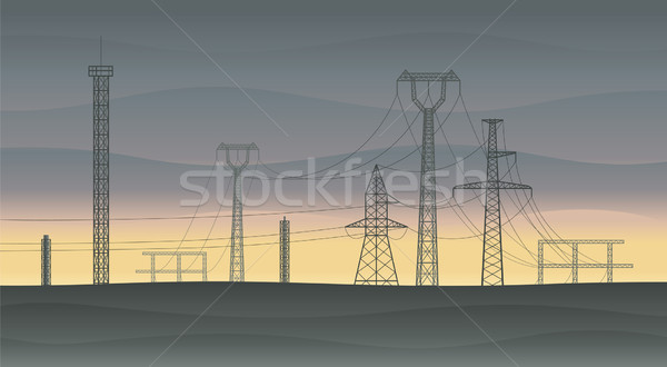 Powerlines at sunset Stock photo © Bisams