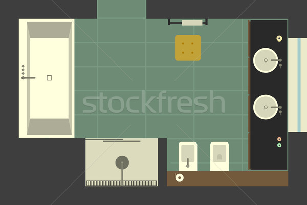 Bathroom in flat style, top view. Stock photo © biv