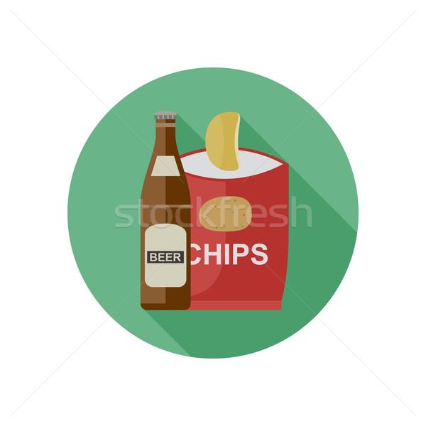Bier chips icon bar drinken fles Stockfoto © biv