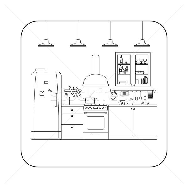Kitchen line interior . Stock photo © biv