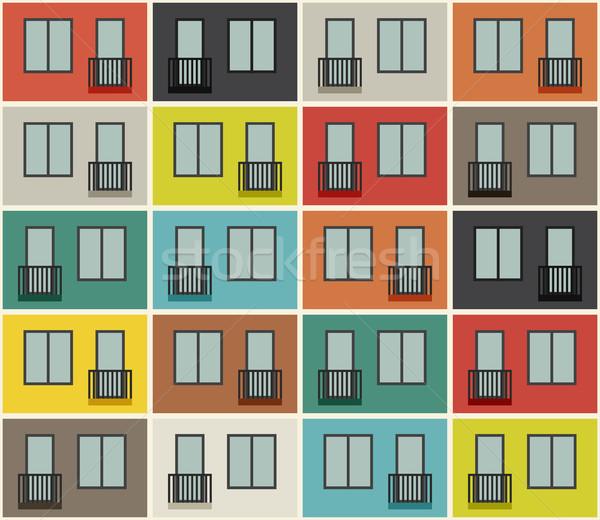 épület homlokzat minta társasház végtelen minta vektor Stock fotó © biv