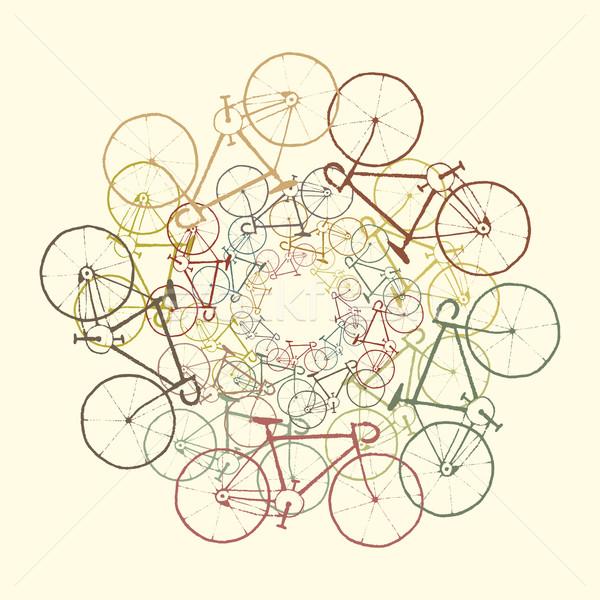 Stok fotoğraf: Renkli · Motosiklet · vektör · bisikletler · siluetleri · yol