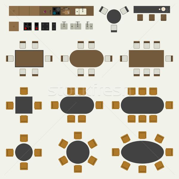 Muebles establecer interior elementos superior Foto stock © biv