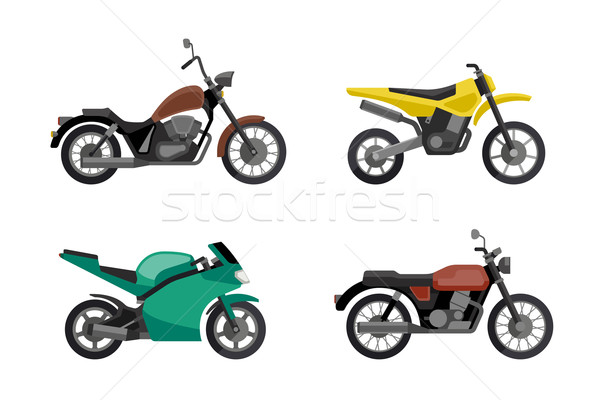 Stock photo: Motorcycle icons set.