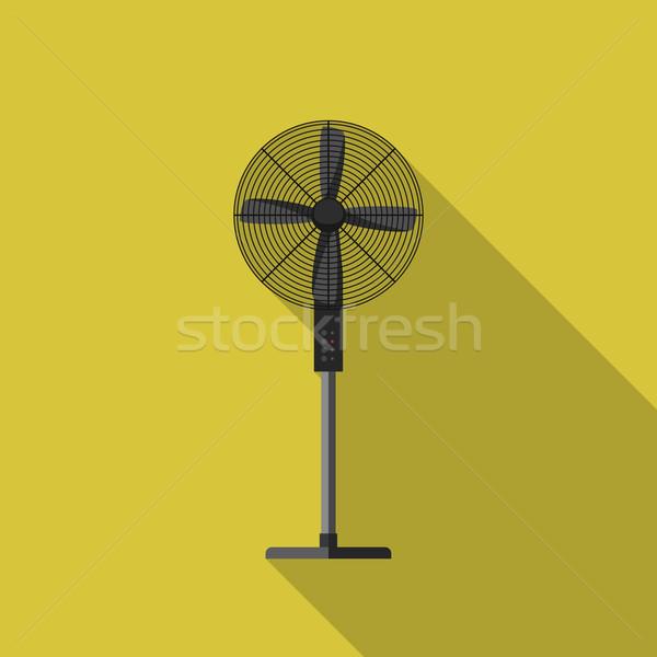 Ventilator icon lang schaduw vector eenvoudige Stockfoto © biv
