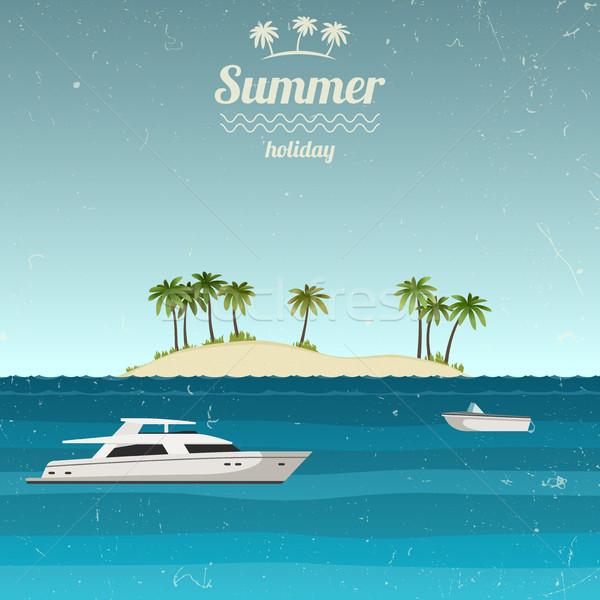 Ilha barcos mar grunge férias de verão céu Foto stock © biv