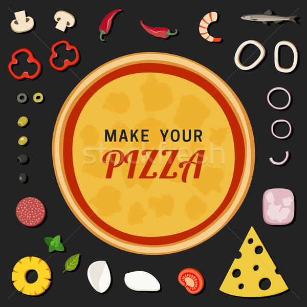 Pizza ayarlamak restoran beyaz zeytin Stok fotoğraf © biv