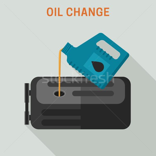 Motor yağı değiştirmek vektör afiş bakım araba Stok fotoğraf © biv