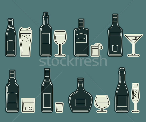Beverages and drinks thin icons Stock photo © biv