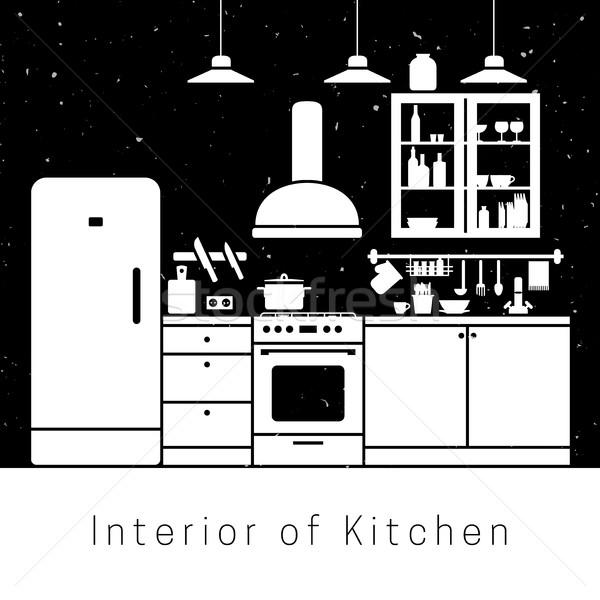 Keuken interieur witte silhouet meubels achtergrond keuken Stockfoto © biv
