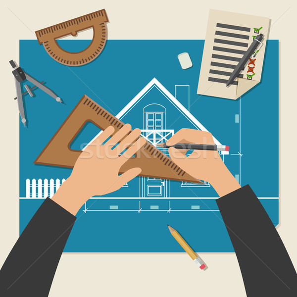 Process of designing the house. Stock photo © biv