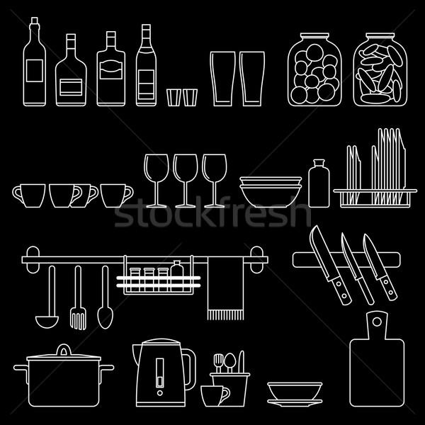 Főzés kellékek vonal ikonok konyhai felszerelés vektor Stock fotó © biv