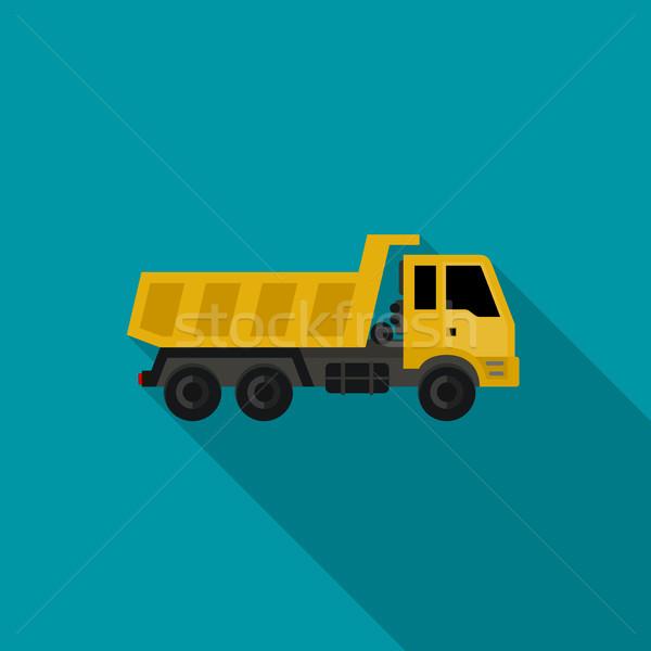 Vrachtwagen icon bouw stijl vector iconen Stockfoto © biv