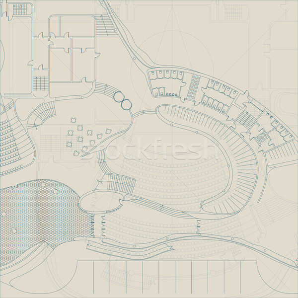 Planı mimari mühendislik çizim gri çalışmak Stok fotoğraf © biv