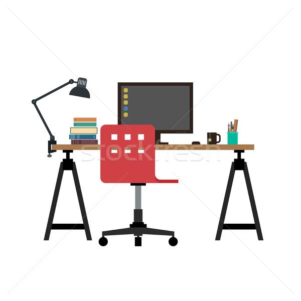作業 デスク 実例 モニター 椅子 職場 ストックフォト © biv