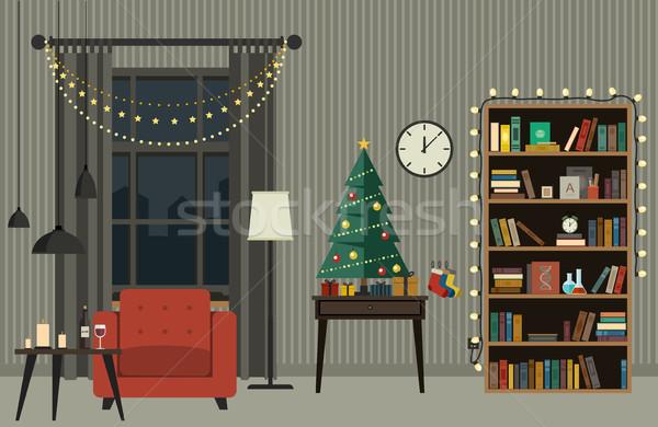 Foto stock: Natal · interior · sala · de · estar · árvore · de · natal · mobiliário · estilo
