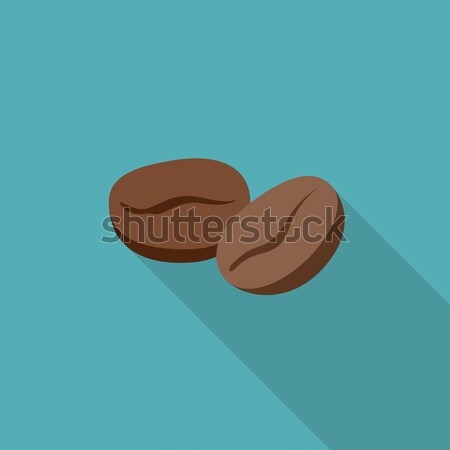 Grains de café icône simple illustration longtemps ombre Photo stock © biv