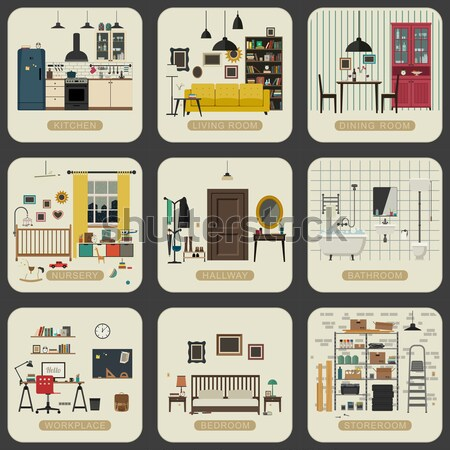 Apartment interior in flat style.  Stock photo © biv