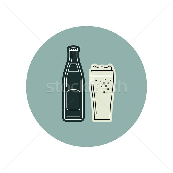 Bierfles glas vector icon dun lijn Stockfoto © biv