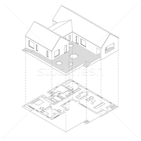 Casa proyección plan blanco línea Foto stock © biv