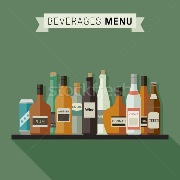 Içecekler menü şişeler içkiler raf vektör Stok fotoğraf © biv