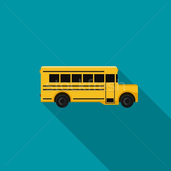 Schoolbus icon lang schaduw vector eenvoudige Stockfoto © biv