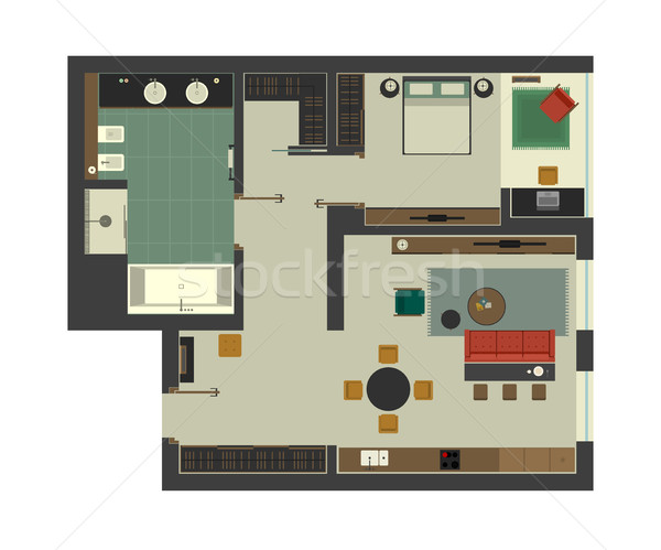建築の 計画 アパート 家具 インテリア 先頭 ストックフォト © biv