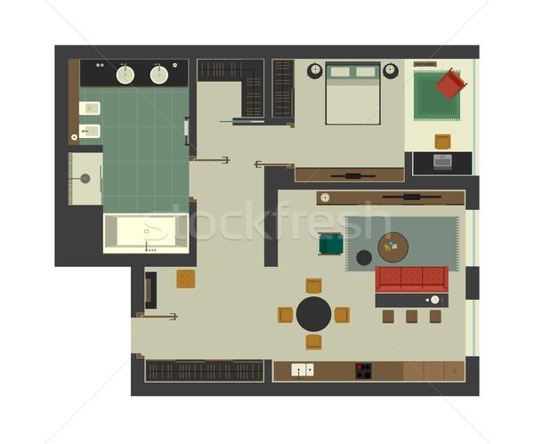 Arquitectónico plan apartamento muebles interior superior Foto stock © biv