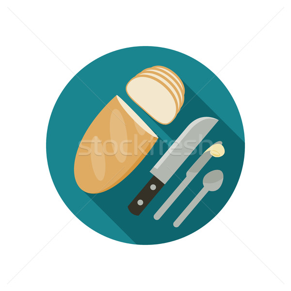 Brood icon mes voedsel ontwerp achtergrond Stockfoto © biv