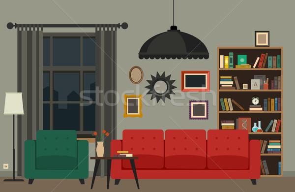 リビングルーム インテリア 家具 ベクトル バナー クロック ストックフォト © biv