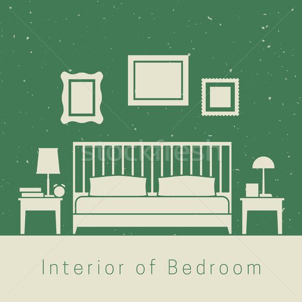 Dormitorio interior blanco silueta muebles libro Foto stock © biv