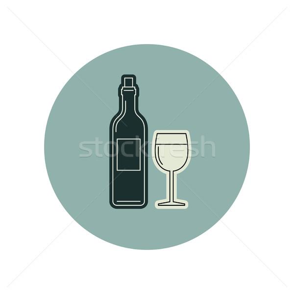 Botella de vino vidrio vector línea iconos cena Foto stock © biv