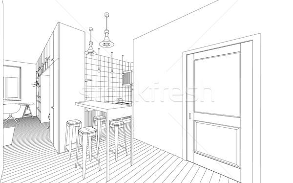 インテリア 図面 行 白 家 デザイン ストックフォト © biv