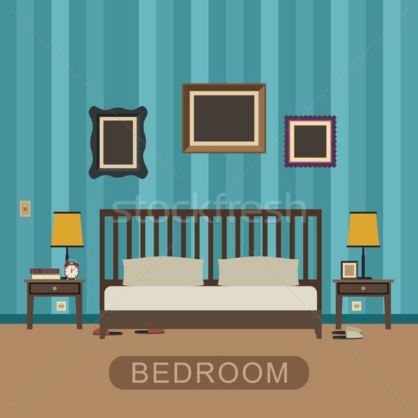 Slaapkamer meubels interieur vector banner huis Stockfoto © biv